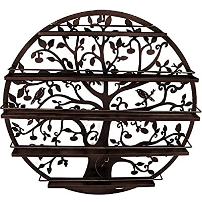 Sorbus Wall Mounted 5 Tier Nail Polish Rack Holder - Tree Silhouette Round Metal Salon Wall Art Display