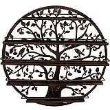 Sorbus Wall Mounted 5 Tier Nail Polish Rack Holder - Tree Silhouette Round Metal Salon Wall Art Display (Bronze)