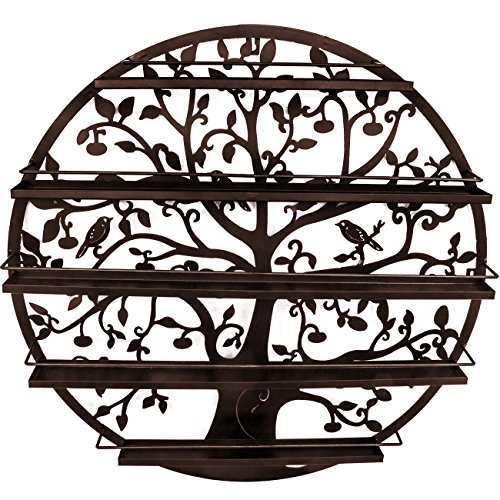 Sorbus Wall Mounted 5 Tier Nail Polish Rack Holder - Tree Silhouette Round Metal Salon Wall Art Display - Oils Nails Essential