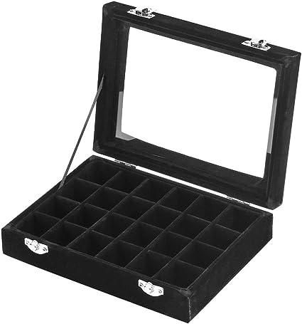 Zice 24 Slot Velvet Glass Jewelry Box Organizer Rings Earrings Tray Display Storage Case