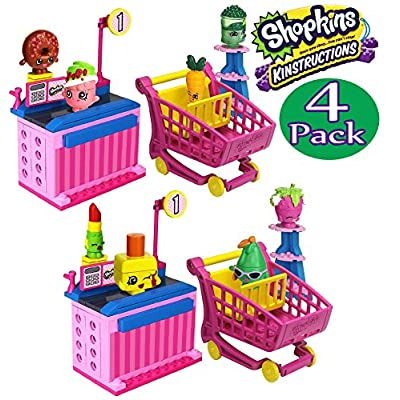 Shopkins Kinstructions Shopping Cart Style 1 & 2 and Checkout Lane Style 1 & 2 Complete Bundle - 4 Pack: Toys & Games