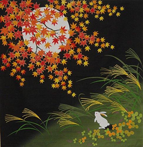 der the Autumn Moon and Maples' Motif Japanese Fabric 75cm (Maple Finish Bush)