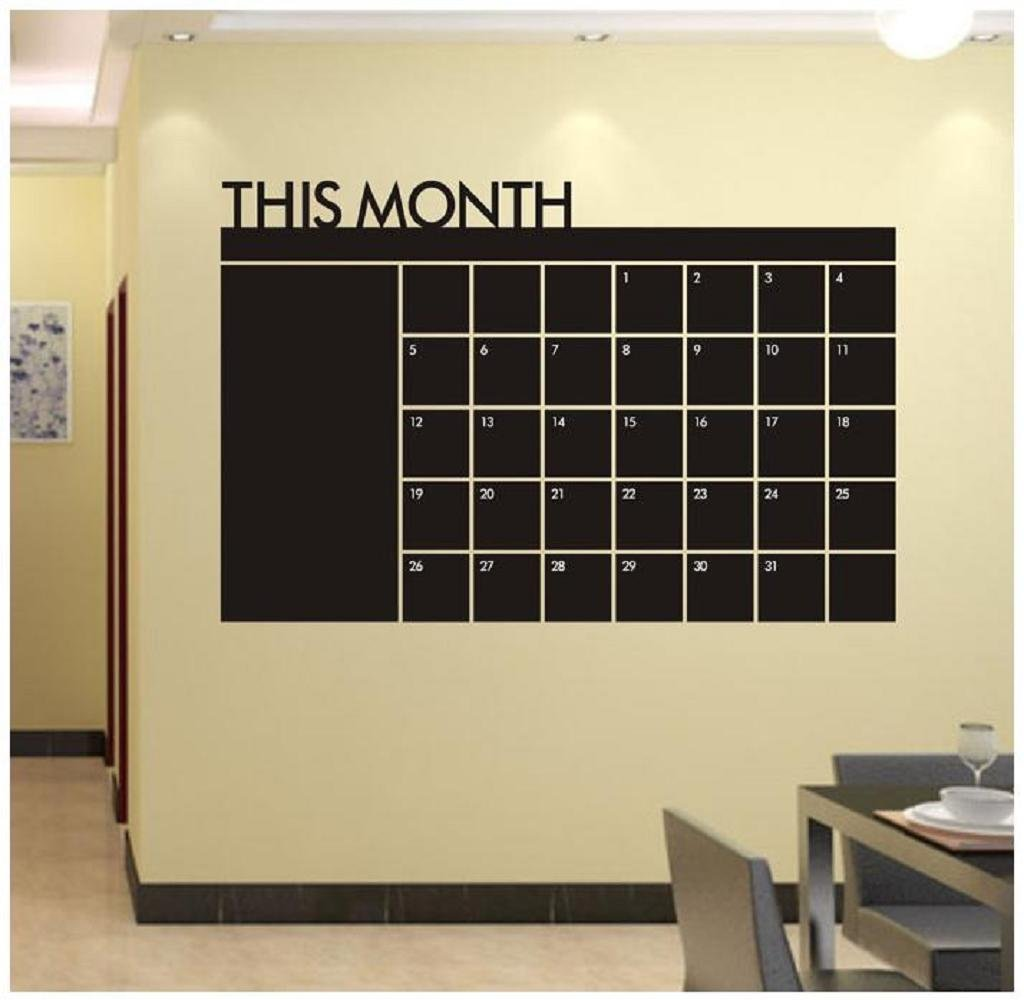60x92 Month Plan Calendar Chalkboard MEMO Blackboard Vinyl Wall Sticker Home School & Office by Malloom