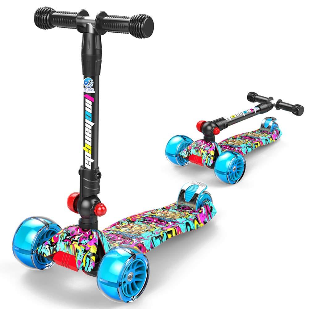 D  JiaQi Kick Scooter pour Les Enfants De 3 à 12 Ans,Patinette Pliable,Réglable en Hauteur Extra grand Pont Idéal pour Les Enfants Filles Ou Garçons