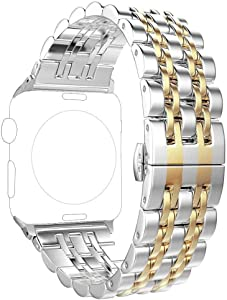 Replacement for Apple Watch Band 38mm Series 3 2 1 40mm Series 5 4, PUGO TOP Stainless Steel iWatch iPhone Watch Bracelet Link Band 2 Tones for Men Women Fancy Designer(38mm/40mm, Gold)