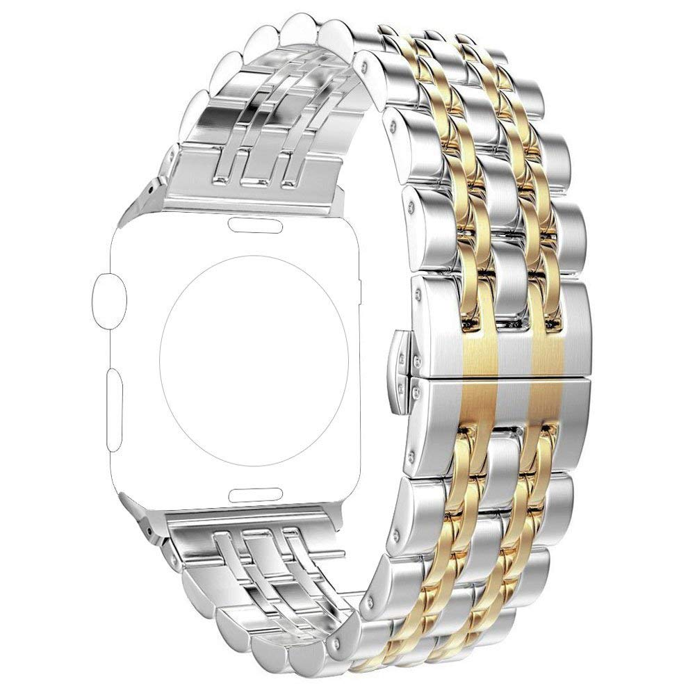 Replacement for Apple Watch Band 38mm Series 3 2 1 40mm Series 4, PUGO TOP Stainless Steel Iwatch Bracelet Link Band with Butterfly for Men Women(38mm/40mm, Gold)