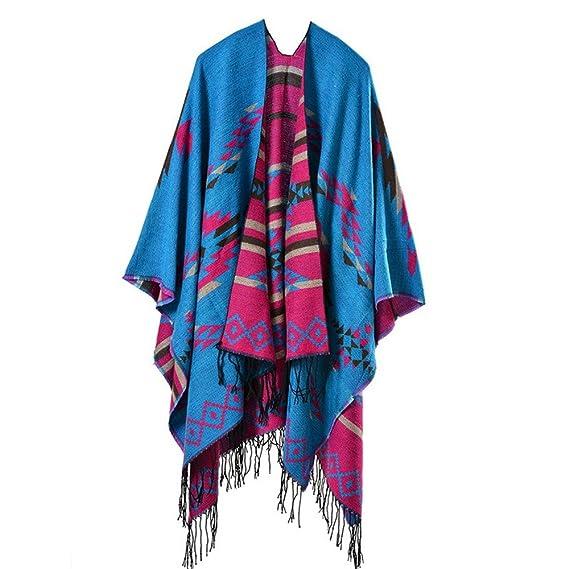 Beunique Femme Poncho Tricot à Losange avec Frange Mode Ethnique Ouverture  Chaud Echarpe Mode Châle Automne 207fde3a6b2
