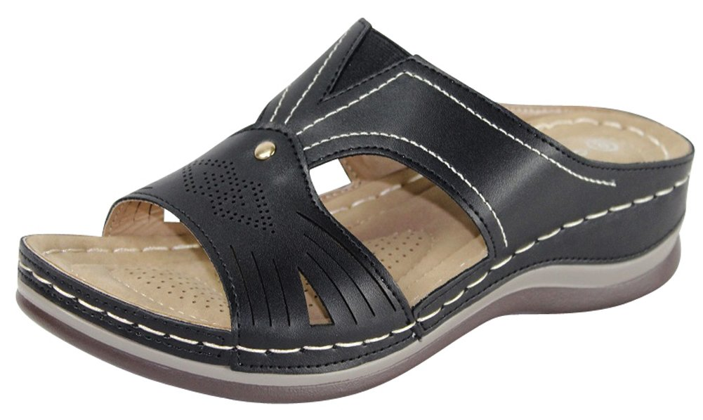 Cambridge Select Women's Comfort Padded Perforated Cutout Slip-On Low Wedge Sandal (8 B(M) US, Black)