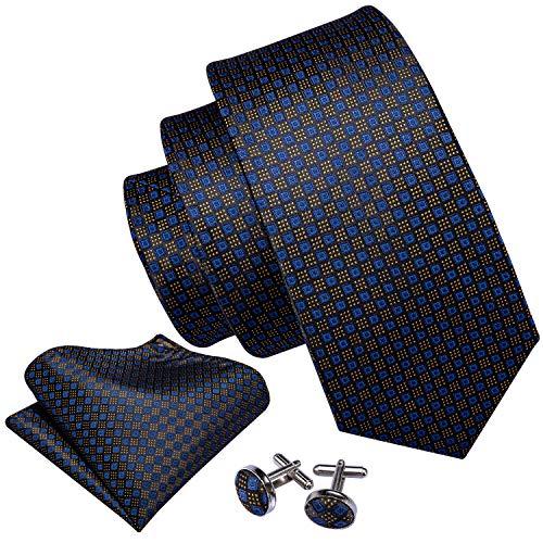 Barry.Wang Formal Ties Set Plaid Necktie Handkerchief Cufflink Business