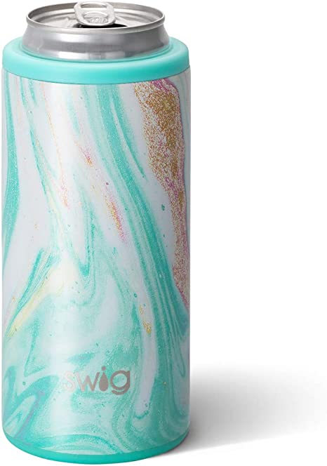 Stainless Steel Slim Can Coozie for Tall Skinny Cans in Luxy Leopard Print Multiple Patterns Available Dishwasher Safe Swig Life 12oz Triple Insulated Skinny Can Cooler Double Walled