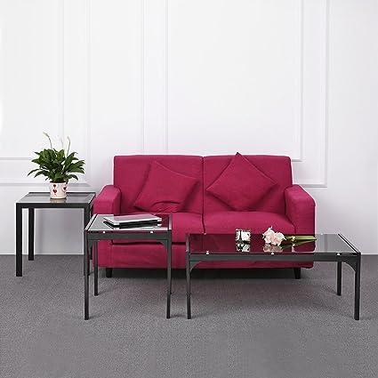 Unabi (TM) moderno elegante marco de metal mesa de café + 2 Final ...