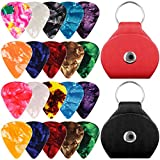 20 Packs Celluloid Guitar Picks with Holder Cases, SENHAI 10 Packs 0.96mm and 10 Packs 0.71mm Stylish Colorful Picks, with 2 PU Leather Protective Cases - Black, Red