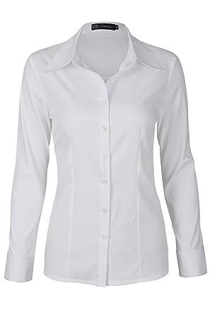 d3cf1ab67ff2 SUNNOW Damen Arbeitshemden Langarm Slim Fit Hemdbluse Einfarbig Basic  Business Hemden  Amazon.de  Bekleidung