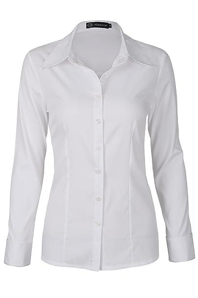 ca90ee69cb0 SUNNOW Blusa Blanca para Mujer Estilo Clástico Mangas Largar con Botones  (EU 38