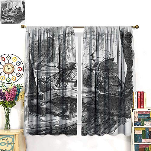 Warm Family Blackout Curtain 19th Century Illustration of a Painter and Apprentice Drapes Panels W96 x ()