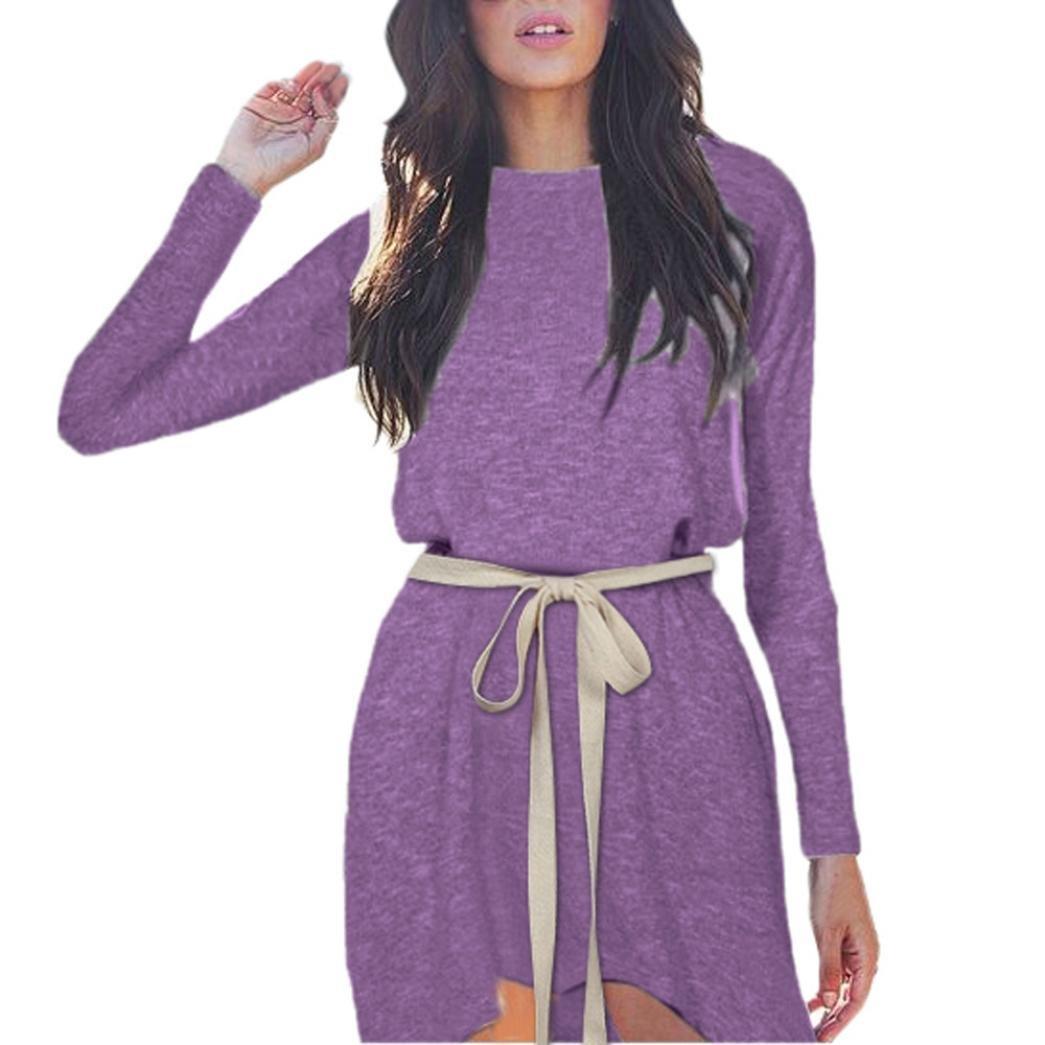 FANOUD Women Autumn Winter Long Sleeve O Neck Bandage Irregular Evening Party Dress (XL, Purple)
