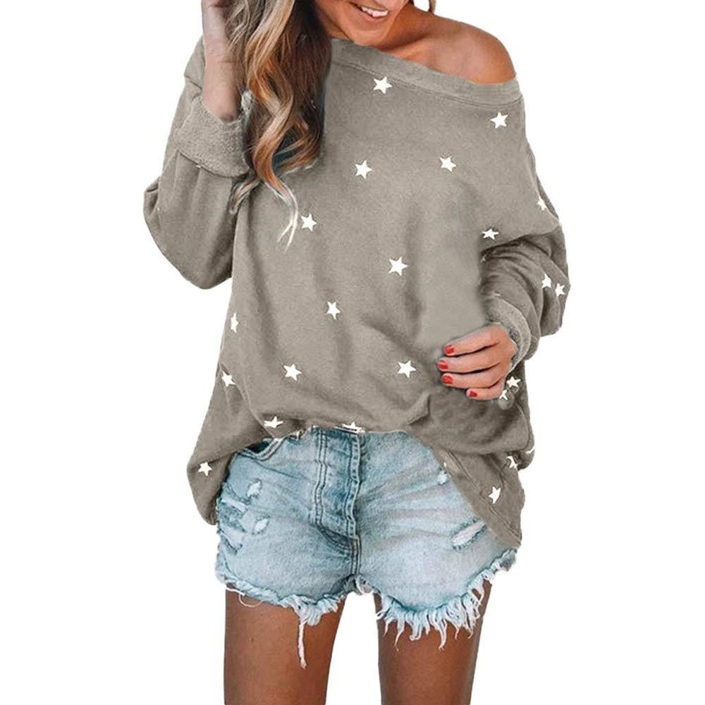 LEvifun T-Shirt Motivo a Stella Donna, Manica Lunga Casuale Sciolto Donne Bluse Camicetta Maglione Maglioni Top Felpa Pullover Donne Camicie