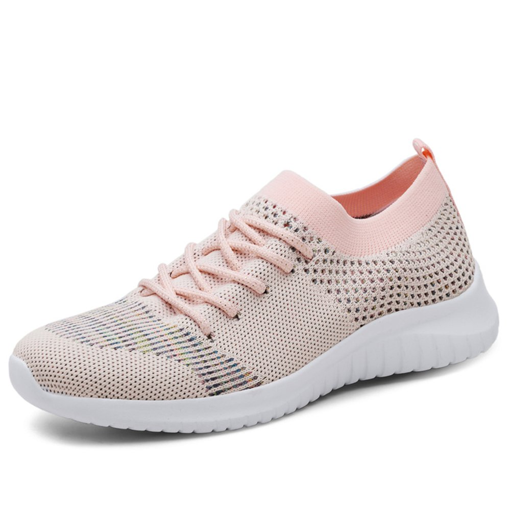 TIOSEBON Women's Lightweight Casual Walking Athletic Shoes Breathable Flyknit Running Slip-On Sneakers B07D7T6F84 5 B(M) US|2135 Pink