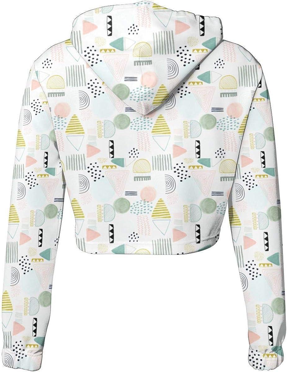 Muted Pastel Colours Womens Sports Long Sleeve Crop Hoodie Sweatshirt Top Pullover Hooded Sweatshirt