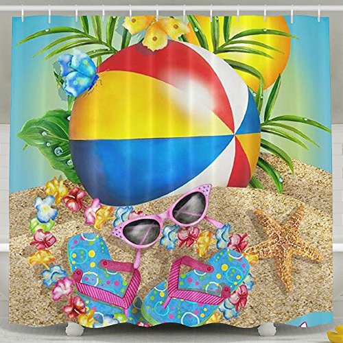 BINGO FLAG Funny Fabric Shower Curtain Happy Summer Days Waterproof Bathroom Decor With Hooks 60 X 72 Inch by BINGO FLAG
