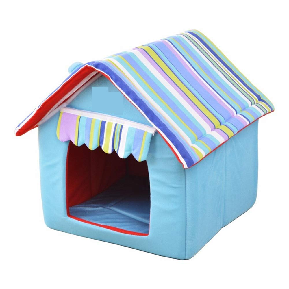 B 33X26X35CM B 33X26X35CM Jian E  Pet Nest-pet Cat Kennel Winter Warm Four Seasons Universal Washable Teddy Method Cattle Than Bear Small Dog Large And Medium-sized House Bed House Kitten Production Room British Short bluee C