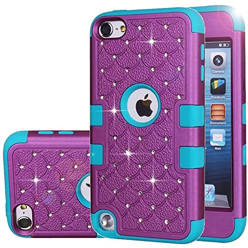 ipod Touch 5 Case,ipod Touch 6 Case,Auker Heavy Duty Shockproof Bling Mermaids Scales Dual Layer [Soft Silicon+Hard PC Shell] Hybrid Protective Case Cover for ipod Touch 5th/6th Generation (Purple-B)