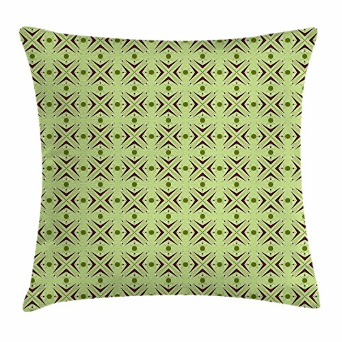 Mid Century Throw Pillow Cushion Cover by Ambesonne, Atomic Form Abstraction with Boomerang Details Dots and Crossed Lines, Decorative Square Accent Pillow Case, Plum Green Blue 61FbNR5shuL