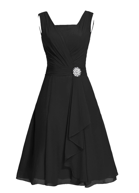 Fanciest Women's Straps Beaded Short Bridesmaid Dresses Black Wedding Party Dress US26W
