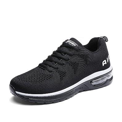 Herren Damen Sportschuhe Laufschuhe mit Luftpolster Turnschuhe Profilsohle Sneakers Leichte Schuhe Black Orange 41 LjzJg5u