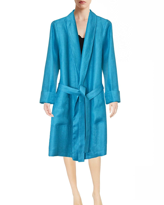 Armani International Lounge Robe Women's Comfort Linen Sateen Woven Sleepwear, Tailored in Europe