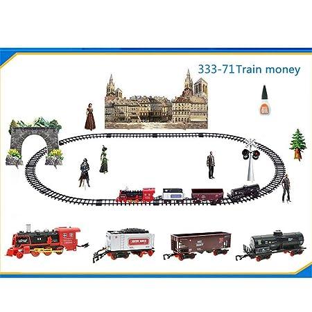 Mandos a distancia recargables Juego de juguetes eléctrico Clásicos Tren Simulación Tren de vapor Tren de tren Tren de remolque remoto: Amazon.es: Bebé
