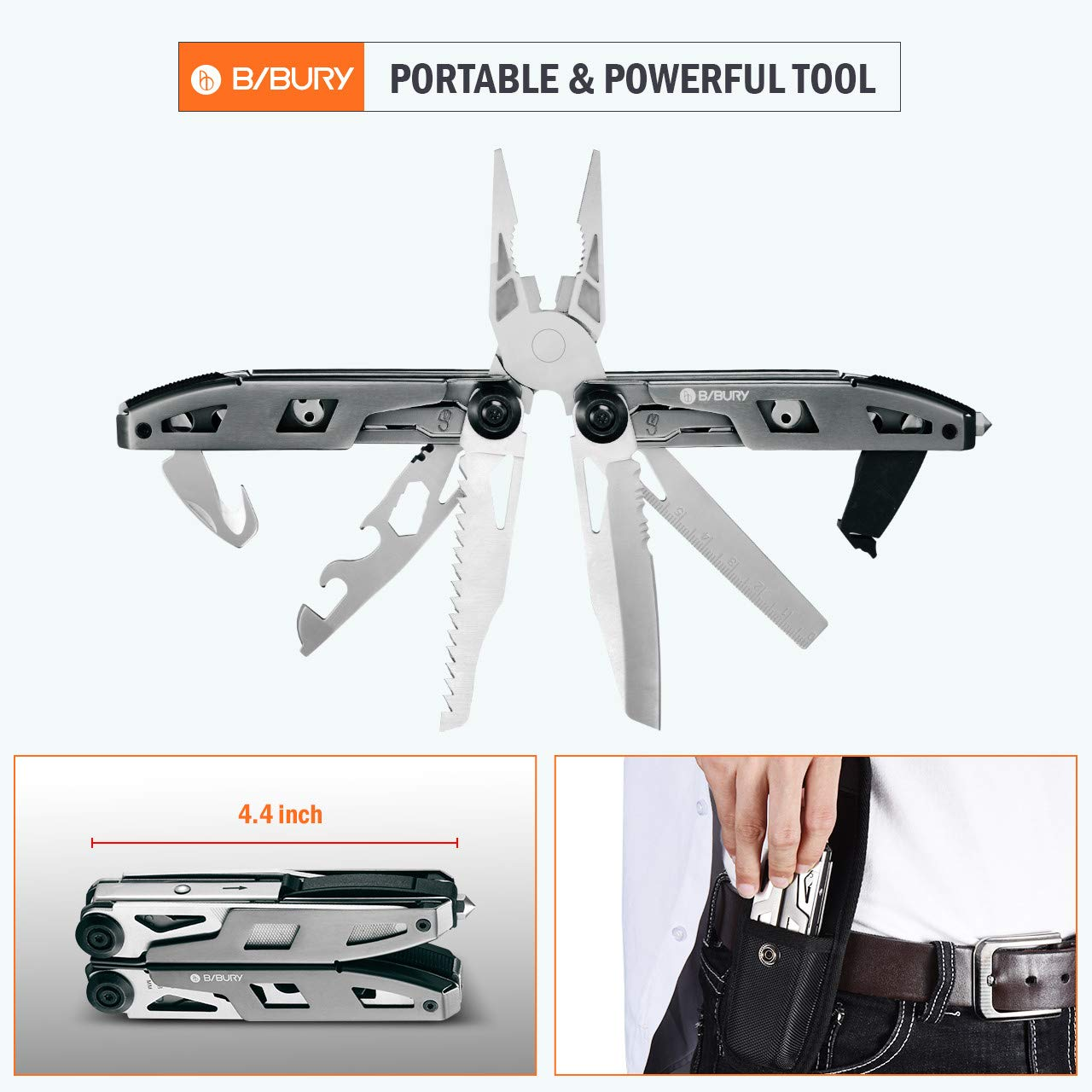 Multitool Pliers,Titanium 18-in-1 Multi-Purpose Pocket Knife Pliers Kit, Durable Stainless Steel Multi-Plier Multi-Tool for Survival, Camping, Hunting, Fishing and Hiking (Titanium 18 in 1) by Bibury (Image #7)