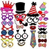 Photo Booth Props 40 Piece DIY Kit for Wedding Party Reunions Birthday Graduation Dress-up Party Favors, Costumes with Mustache on a stick, Hats, Glasses, Mouth, Bowler, Bowties, Santa Claus