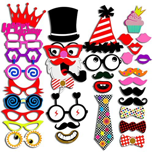[Photo Booth Props 40 Piece DIY Kit for Wedding Party Reunions Birthday Graduation Dress-up Party Favors, Costumes with Mustache on a stick, Hats, Glasses, Mouth, Bowler, Bowties, Santa Claus] (Funny Homemade Costumes Ideas)