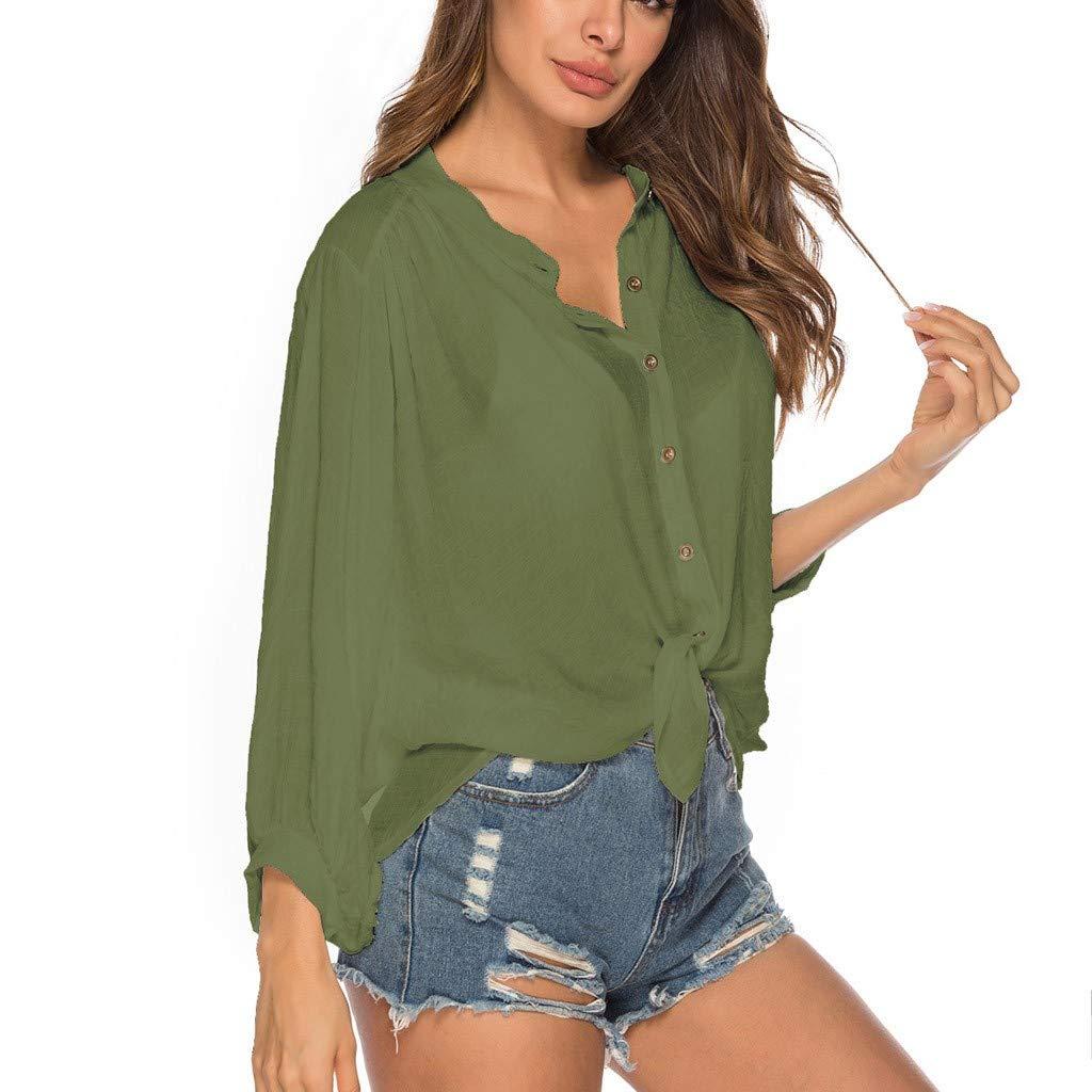 NUWFOR Women Collar Bat Sleeve Shirt Beach Bikini Swimsuit Blouse Cover-Up Loose Tops(Green,Free Size)