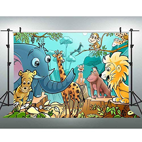 VVM 7x5Ft Cartoon Backdrop Forest Animal World Backdrop Tiger Lion Elephant Giraffe Monkey and Many More Photography Studio Background Video Studio Props Decorative Mural LXVV137 -