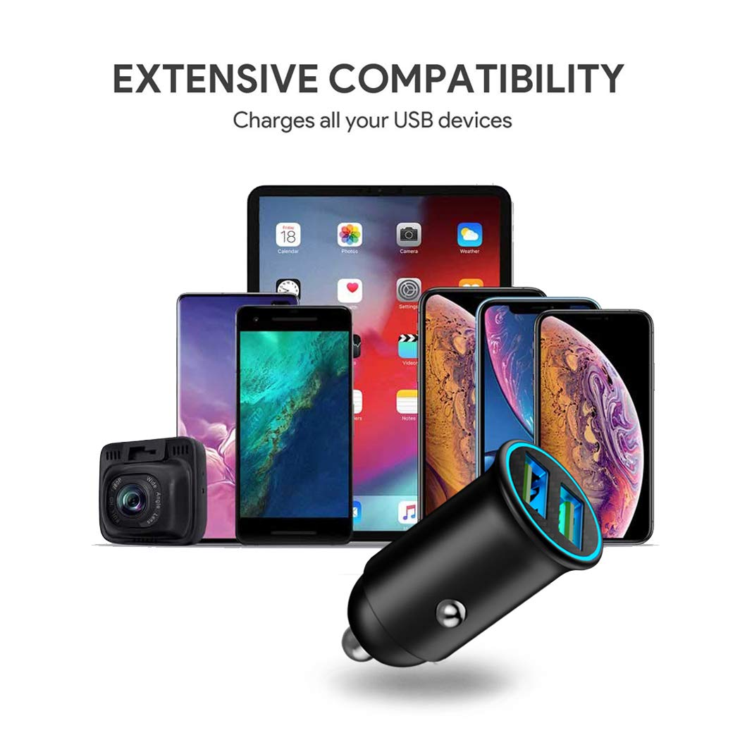 iPad HTC Car Charger Samsung Galaxy S9//S8//S7 Carlion Dual USB Car Charger Adapter Mini Fast Charging 4.8A//24W Alloy Shell for iPhone Xs MAX//XR//X//8//7//6//Plus LG G6//G5 Nexus