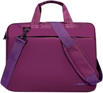 WWVAVA Estuche para Laptop 12/14/15/17 Pulgadas Airbag de Nylon Bolso de Hombro Bolsos para computadora Impermeable Mensajero Mujeres Hombres Bolso para portátil Sin airbag, púrpura, 12
