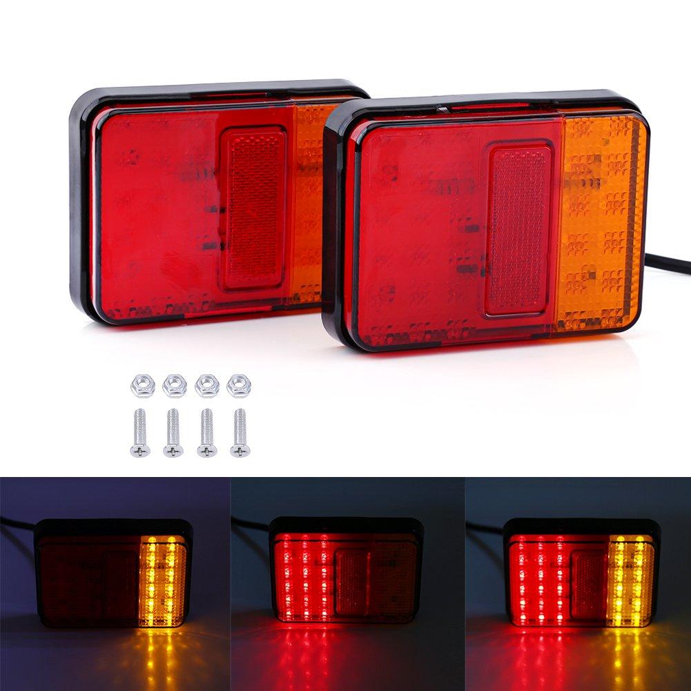 Qiilu Feu Arri/ère LED Clignotant de Position Stationnement 2Pcs 12V 30LED Avertissement Lampe pour Remorque Camion Bateau Rouge et Ambre