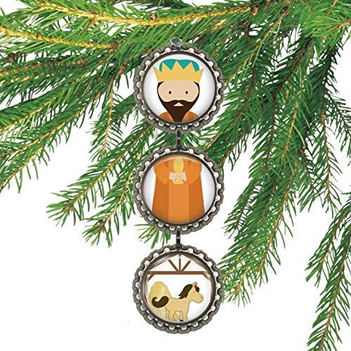 Wiseman Nativity Bottlecap Christmas Ornament