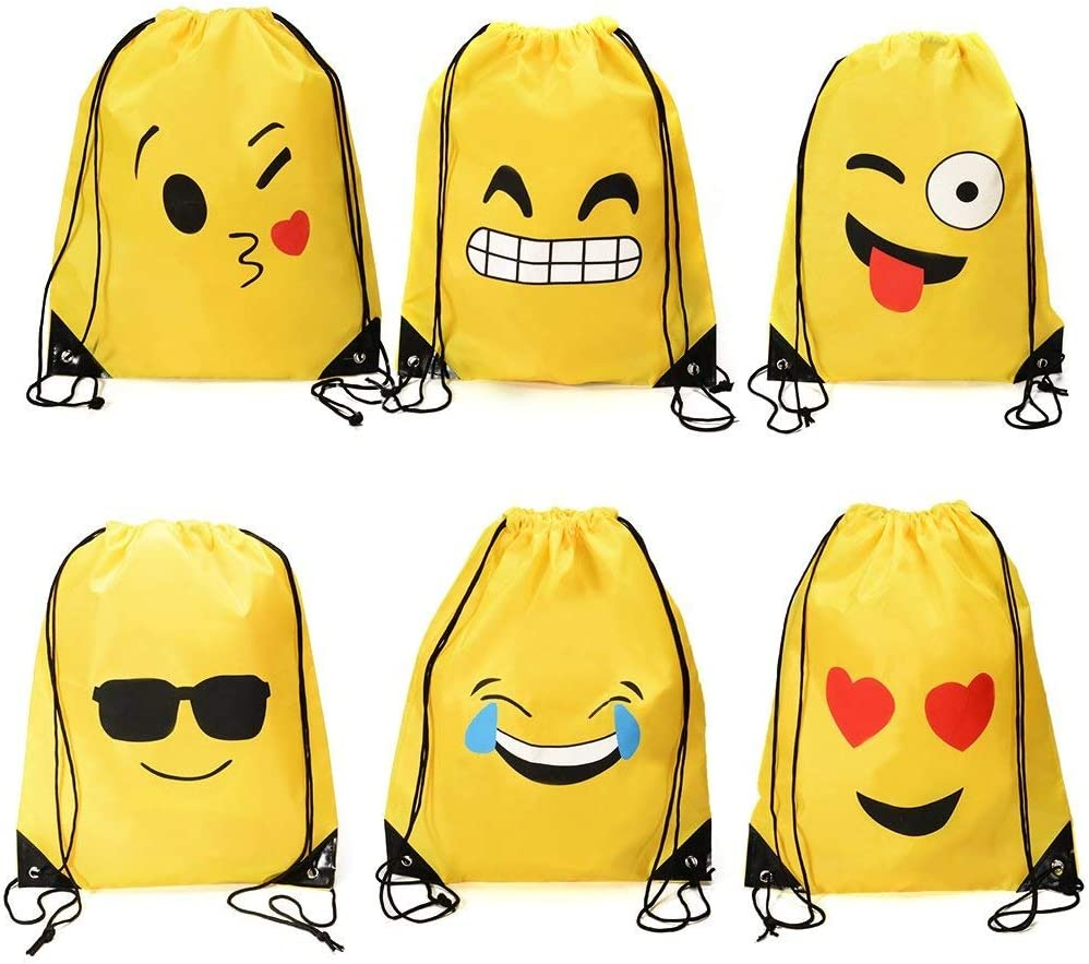 Holiday Goody Birthday Party Favor Bags Supplies for Kids Teens Girls and Boys 6 Pack Dproptel 6 Different Emoji Drawstring Backpack Bags Cute Designs