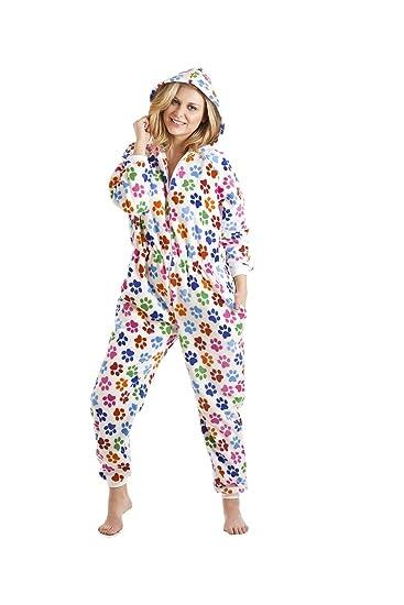 qualité-supérieure nouvelle apparence 2019 meilleurs Camille - Combinaison Pyjama - Motif Pattes de Chien colorées - Femme -  Blanc
