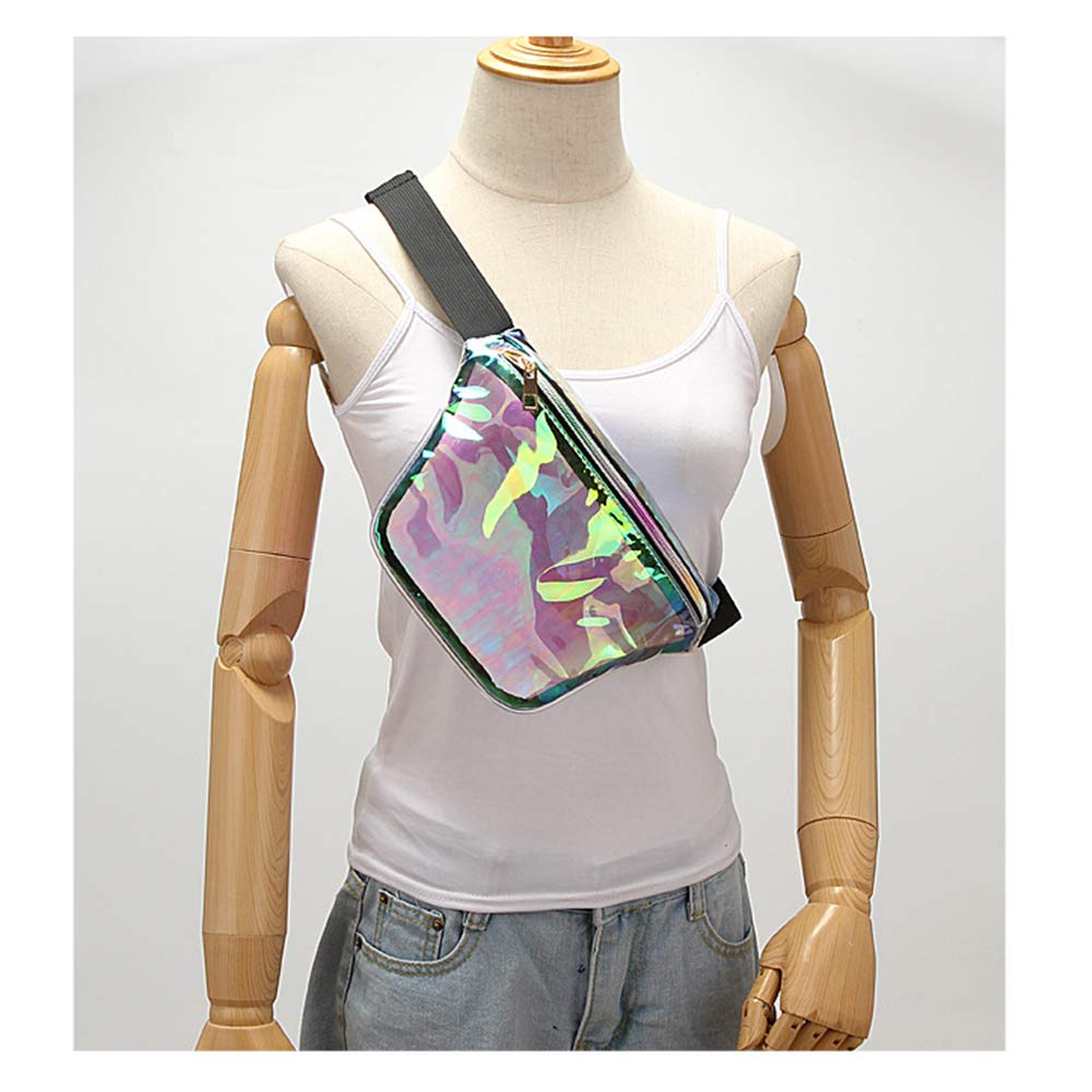 Auony Clear Fanny Pack and Concerts Holographic Clear Events Beach NFL Stadium Approved Clear Waist Pack Clear Crossbody Purse with Adjustable Strap for Travel