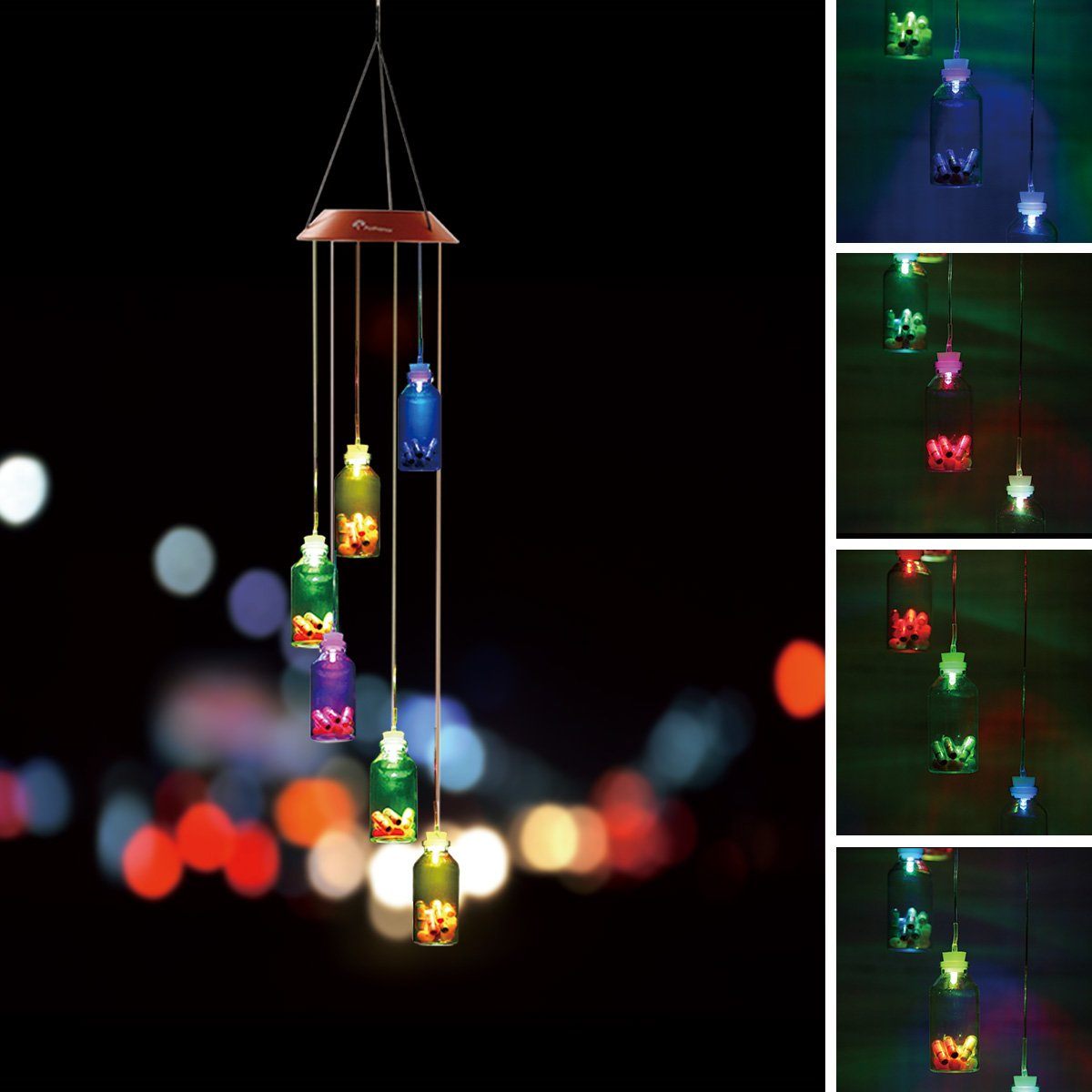 PATHONOR Color-Changing LED Solar Mobile Wind Chime, LED Waterproof Wind Chime Wishing Bottles Wind Chimes Home/Party/Night Garden Decor
