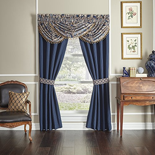CROSCILL Aurelio Pole Top Drapery Panels, Blue, 4 Piece ()
