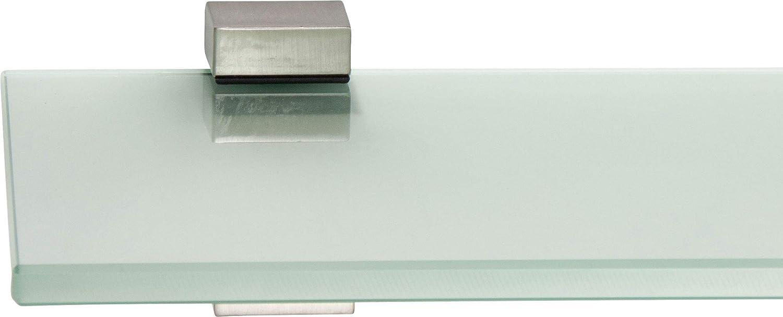 ib style/® Glasregal 8mm inkl Wei/ß Clip BAGI Edelstahloptik |6 Gr/ö/ßen|3 Dekore 40x15cm