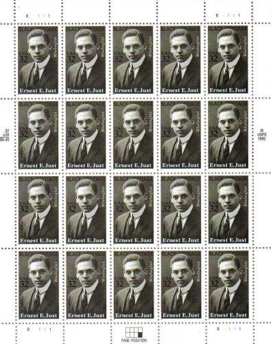 Ernest E. Just Twenty 32 Cent U.S. Postage Stamps 1995 Scott 3058