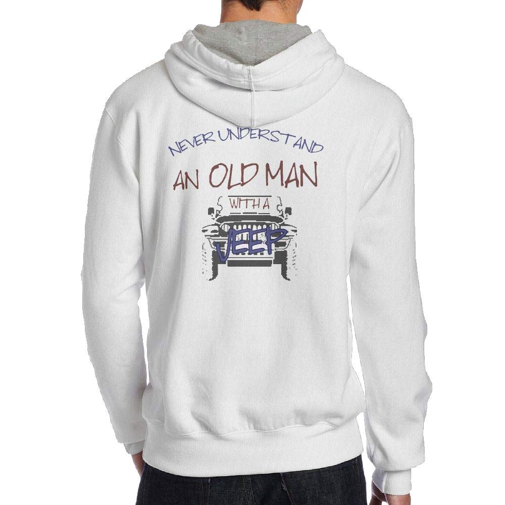 Never Understand an Old Man with A Jeep Back Print Hoodie Long Sleeve Menss