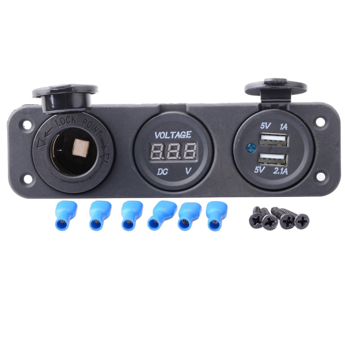 R REIFENG Car DC Digital Voltmeter/Dual USB 2 Port/DC12V Power Socket Three Hole Panel