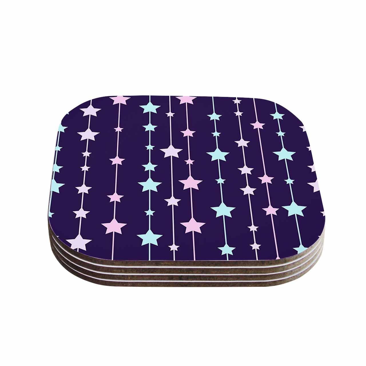 KESS InHouse NL Designs'Twinkle Twinkle LIttle Star Purple Pastel' Coasters (Set of 4), 4 x 4', Multicolor